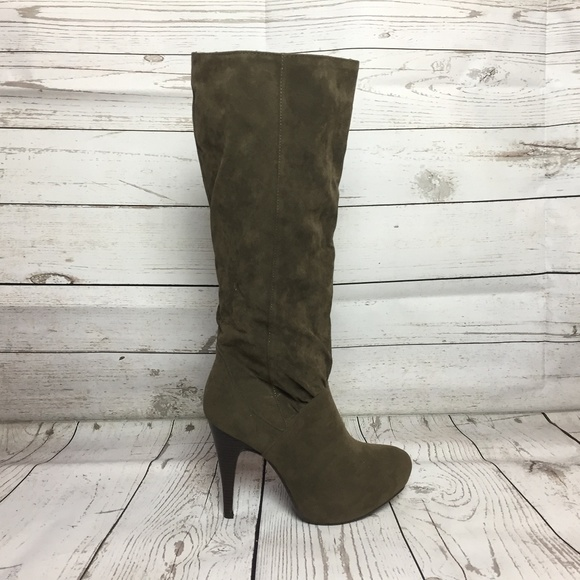 43ab1dca60b Taupe Stiletto Slip On Knee High Heel Boots New Boutique